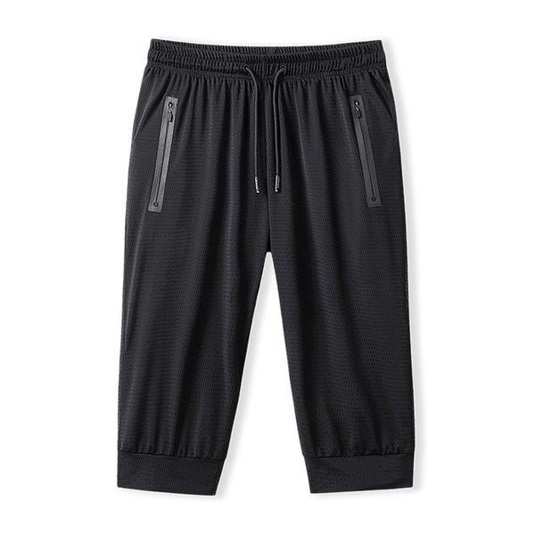 Ligero de verano para hombre, transpirable, gimnasio Calf-Length, pantalones, malla de hielo, pantalones deportivos, súper de gran tamaño, L-9XL150 kg.