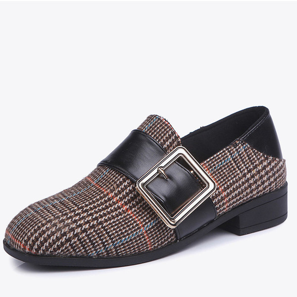 Designer de Vestido de Sapatos Mulheres Gingham Fivela Bombas de Salto Baixo 2019 Novo Outono Senhoras Moda Slip On Plaid Feminino Flock Casual Shallow Conforto