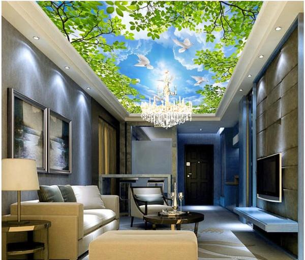 3d Ceiling Mural Wallpaper Custom Photo Sky Leaves White Dove Scenery Living Room Home Decor 3d Wall Murals Wallpaper For Walls 3 D Wallpaper Picture