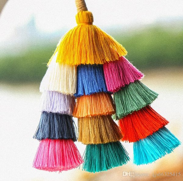 Fashion Big Colorful Tassel Key Chain Bohemian Bag Pendant Charms Ornament Women Keychain Car Key Ring Holder