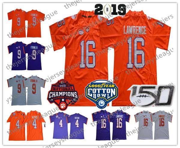Tigres Clemson 2019 Campeões # 16 Trevor Lawrence 9 Travis Etienne Jr. 4 Watson Costurado Patch Roxo Branco Laranja NCAA Camisola De Futebol