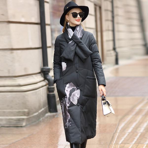 Veste en cuir véritable femmes en peau de mouton duvet de canard d'hiver Les femmes manteau coréen Imprimer Vêtements pour femmes Chaqueta Mujer SM567-308 YY809