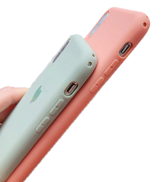 Couples Love Heart Candy Color Soft silicone Matte Phone Case For iphone 8 Plus 6 6S 7 X XS Max XR Fashion Solid Back Cover