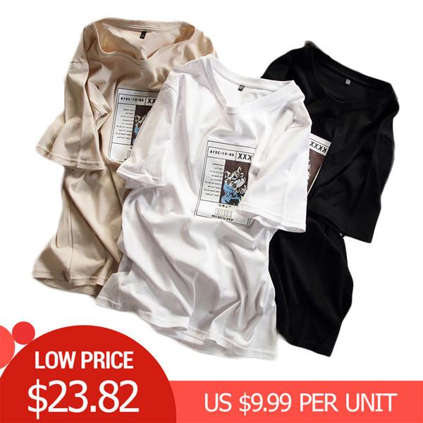 Plus Size Verão Algodão Engraçado Camisetas Mulheres Casual Solto Animal Impressão Feminina T-shirt Harajuku Oversized Ladies Tops and Tees