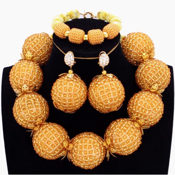 Sparkling Antique Set Conjunto de joyas de oro para las mujeres de cristal de cristal de Dubai Big Balls Traje de moda Bisutería Joyería árabe africana