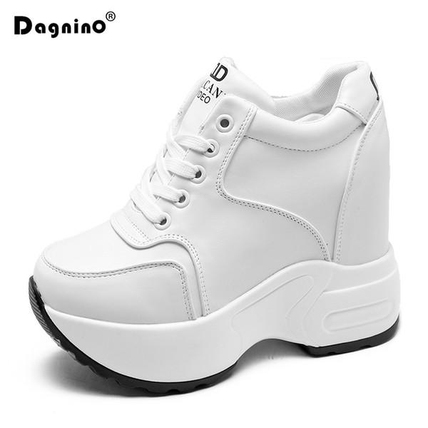 2019 Moda Sneakers Kadınlar Kalın Sole 10 CM Yüksekliği Artan Ayakkabı Sonbahar Beyaz Platformu Ayak Bileği Çizmeler Rahat Ayakkabılar Takozlar Çizmeler
