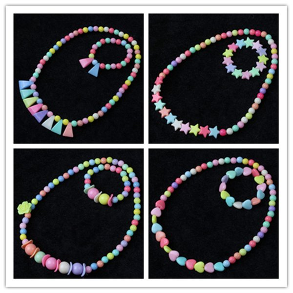 kids necklace sets accessory Colorful beads stars pendant necklace and charms bracelet kids girl acryl Jewelry gift 27 styles B11