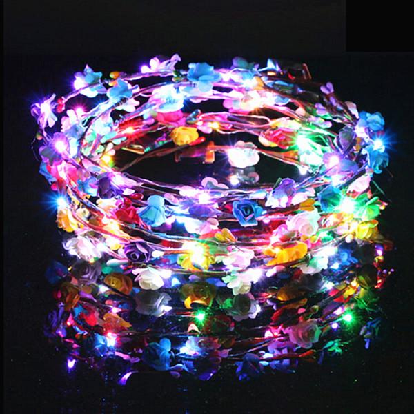 Parpadeante LED Hairbands cuerdas Glow Flower Crown Headbands Light Party Rave Floral Guirnalda para el cabello Guirnalda luminosa Accesorios para el cabello