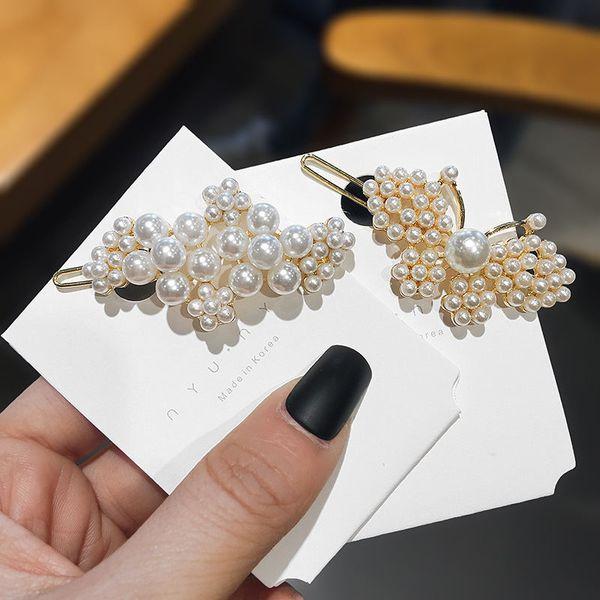 Corée Perle Barrettes pour les femmes filles or Pins floral papillon cheveux mariage Mode Femme Bijoux Cadeaux élégants