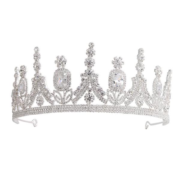 Marque nouveau cristal mariée exquis de luxe de vente chaud mode de gamme de haute Crown Diamond Princess Crown mariage Coiffe bijoux de cheveux