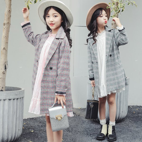 children long coat plaid long sleeve 2019 autumn winter 8 9 10 11 big girls jackets Classic grid girl's coat 110-160