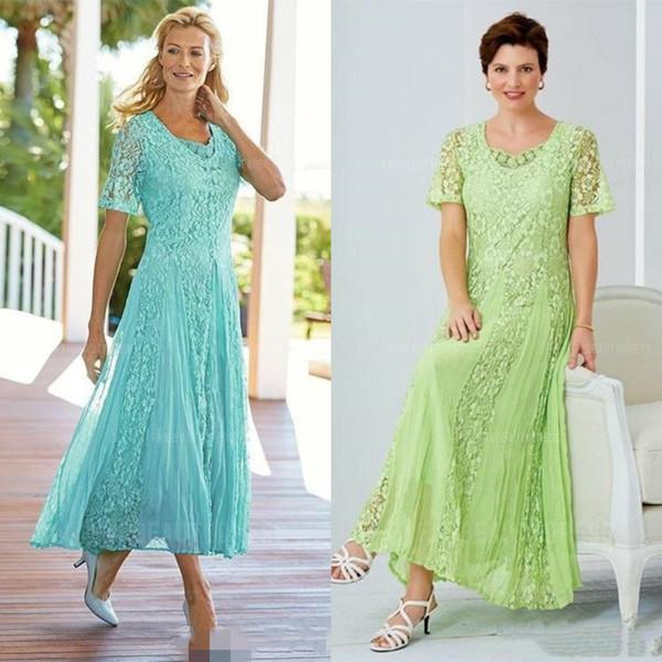 Moda tobillo longitud de la madre de la novia vestidos de manga corta de encaje gasa playa país boda vestido de invitado más tamaño desgaste formal