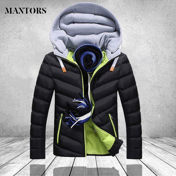 Épais Manteau de duvet Hommes Parkas hiver Casual Veste chaude capuche Mens Casaco Masculino Inverno Homme Noir Darkblue coupe-vent Pardessus SH190930
