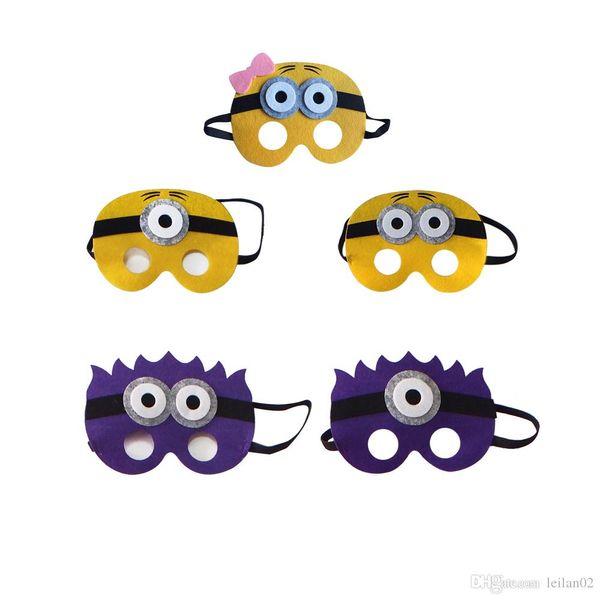 Die Minions Filz Superheld Masken kleine gelbe Mädchen Maske für Kinder Halloween Weihnachten Kostüme Maskerade Masken Partei begünstigt Geschenke.