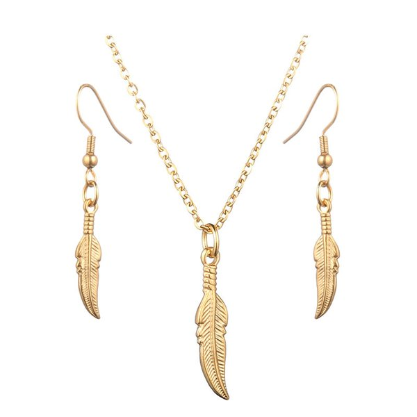 Classic Mini Feather Pendant Necklace Gold Silver Color Stainless Steel Feather Charms Earring For Women Jewelry Set wholesale