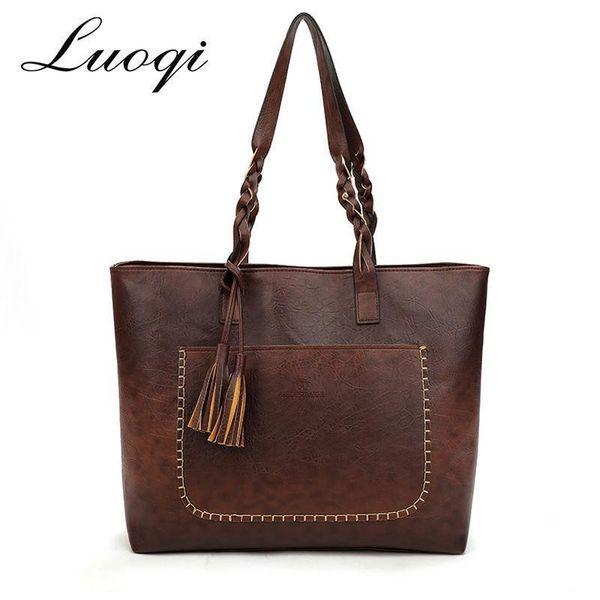Vintage Women Shoulder Bag Female Causal Tote Bags Daily Shopping High Quality PU Leather Tassel Handbag Nice New Fashion