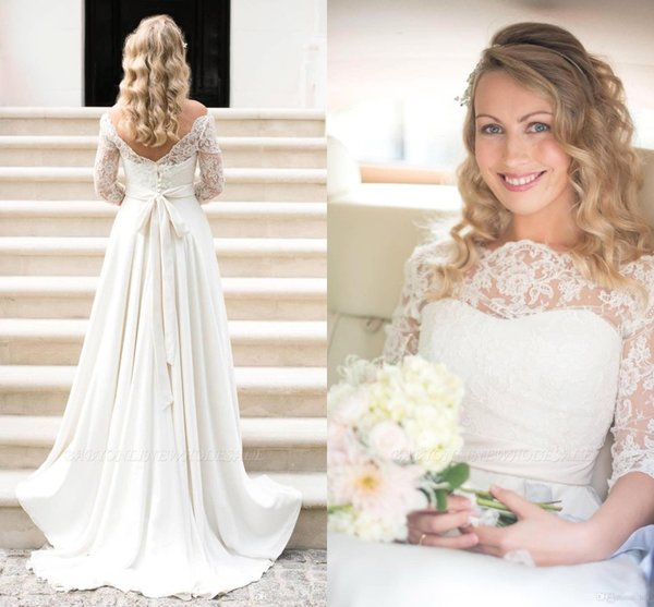 White/Ivory A-line Wedding Dress Elegent Lace Off Shoulder Bridal Gown Ball Gown Long Sleeve Wedding Gown Custom Made