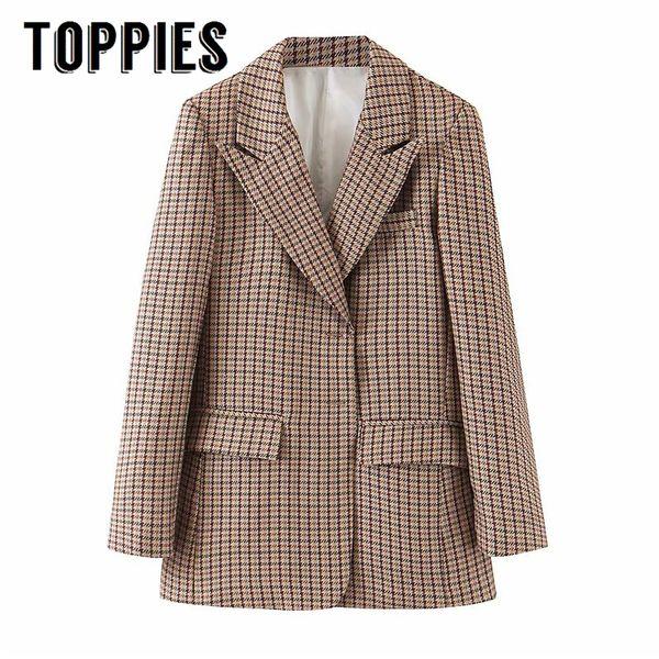 Brown enrejado de la chaqueta del juego individual, mujeres Breated Oficina rompevientos COACT Señora de la chaqueta 2019 otoño ropa SH190917