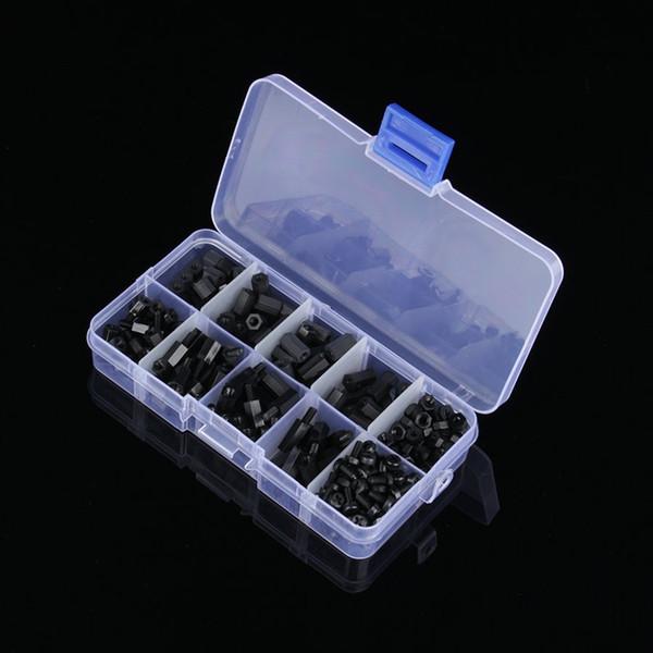 Freeshipping 300pcs/Box M3 Nylon Spacers Screw Nut Assortment Kit Hex Standoff Spacers Screws Single Double-Pass Nut Repair Tools