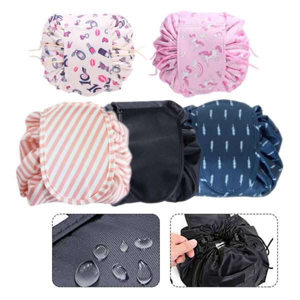 New Women Drawstring Cosmetic Bag Flamingo Printed Large Capacity Clutch Handbag Waterproof Travel Quick Pack Storage Makeup Bag