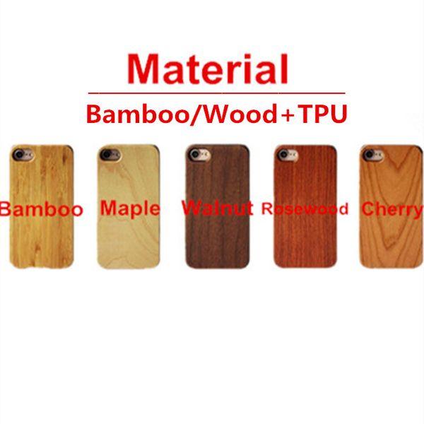 Coque Bamboo / Wood + TPU Pour iPhone X XS Max XR 6 7 8 Couverture rigide Sculpture En Bois Bambou Samsung Smartphone Shell Protecteur