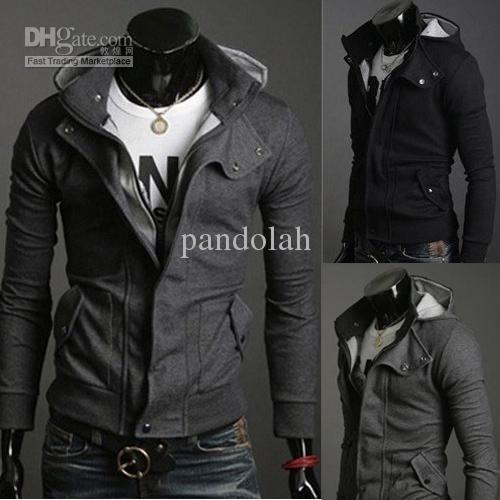 2017 mode Männer Jacken Weihnachten Oberbekleidung Stilvolle Slim Fit Hoodie Jacke Baumwollmischung Männliche Top 4 Größen Schwarz Grau