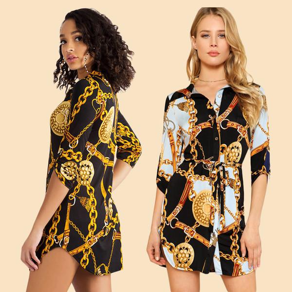 İlkbahar Sonbahar Yeni Tasarımcı Gömlek Elbise Kadın Kadın Rahat Gömlek Zincir Tasarım Baskılı Mini Elbiseler