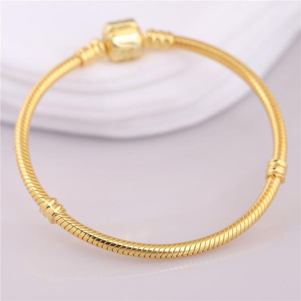 Orijinal 925 Ayar Gümüş Bilezik Pan Altın Renk Namlu Toka Yılan Zincir Temel Bileklik Kadınlar Için Boncuk Charm Diy Takı