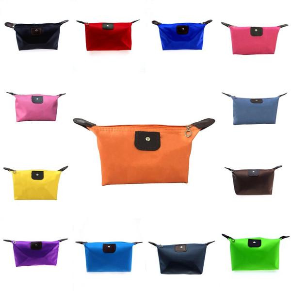 Sac de maquillage de 13 couleurs Dumpling Sac de cosmétiques en polyester de couleur solide autour de la version coréenne portative souple Make Up Bag
