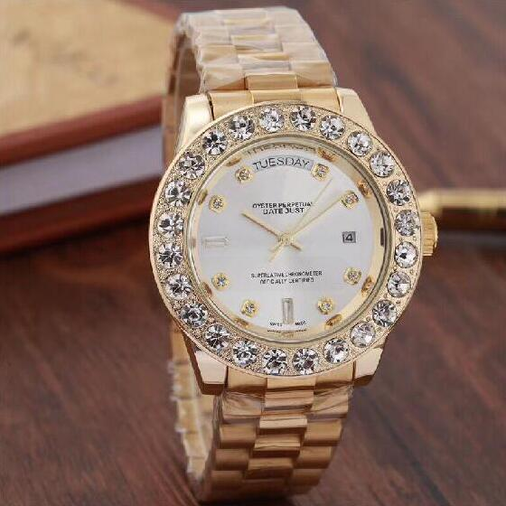 2019 Top Brand Men Business Watch Luxury Diamond Quartz Watches Gold Stainless Band White Large Dial Double Calendar Wrist watch Male 44MM