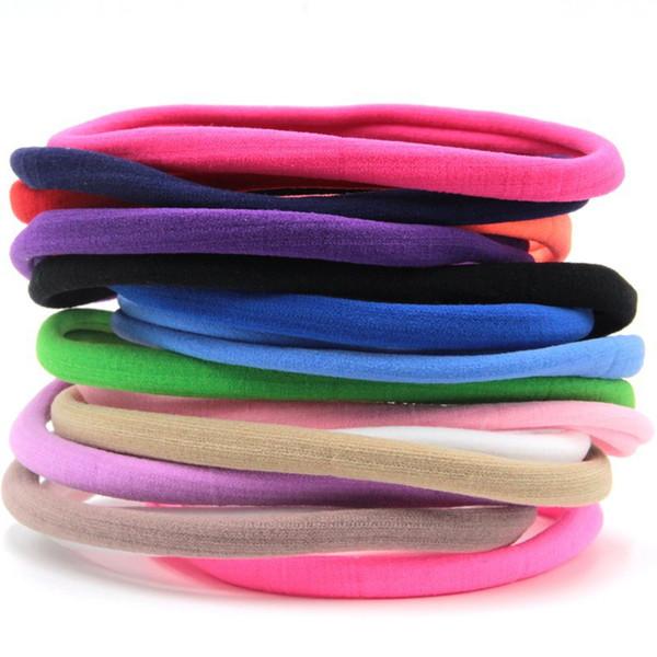 12 Unids / lote Spandex Nylon Diadema Para Niños Niñas Niños DIY Hairband Skinny Headwear Accesorios Para el Cabello