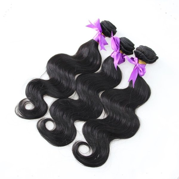 1 Piece #1 Jet Black Color Pure Color Brazilian Virgin Hair Weaving 100% Human Hair Extension 1 Piece Body Wave