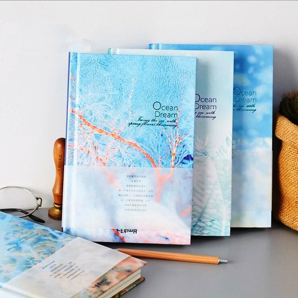 """""""ocean Dream"""" Study Journal Working Diary Grid Lined Blank Papers Notebook Hard Cover Stationery Gift"""
