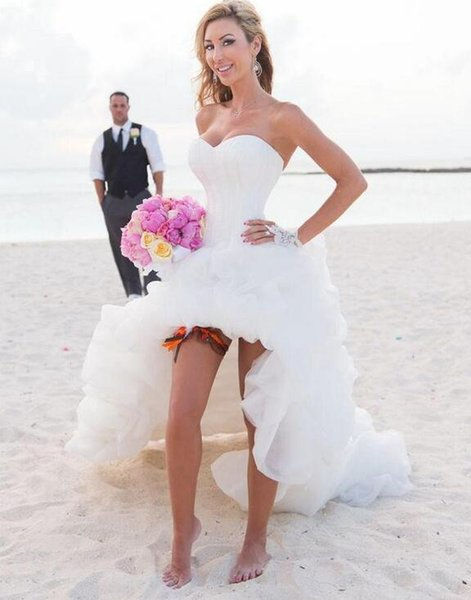 High Low Beach Wedding Dresses Summer Sweetheart Neckline Ivory Ruffled Tulle Short Front Long Back Corset Bridal Gowns