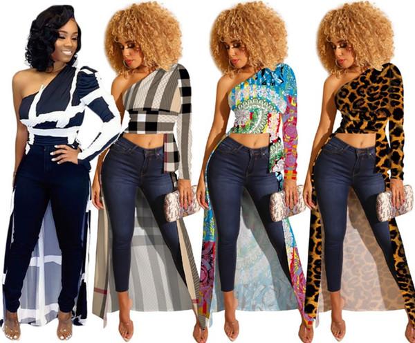 Mulheres de um ombro tops de manga longa de moda camisa de t roupas de inverno designer de queda sexy clubwear assimétrica plaid top safra 1521