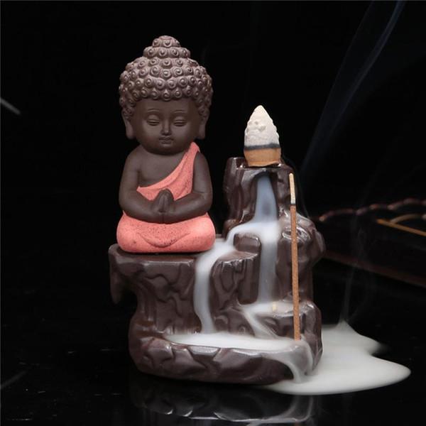 Wholesale- Hot sell cheap buddha ceramic incense burner censer holder set with joss sticks home decoration living room bedroom office decor