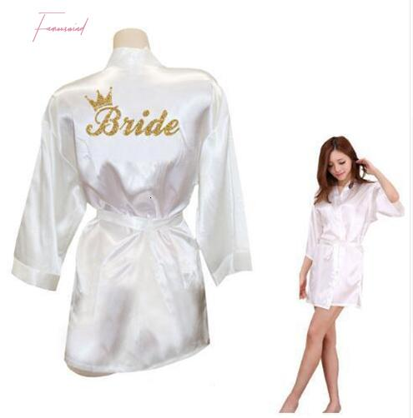 Crown Equipe Silk Noiva de Ouro Glitter Imprimir Kimono Robes Faux noiva Mulheres Bachelorette casamento Preparewear frete grátis