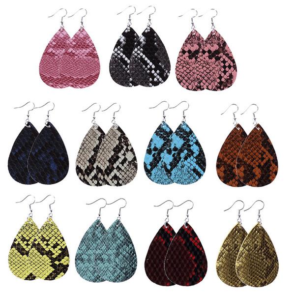 stile europeo caldo di vendita monili di cuoio Eardrop accessori regalo multicolore PU Due lato animale della stampa ciondolo orecchini ovali 09.197