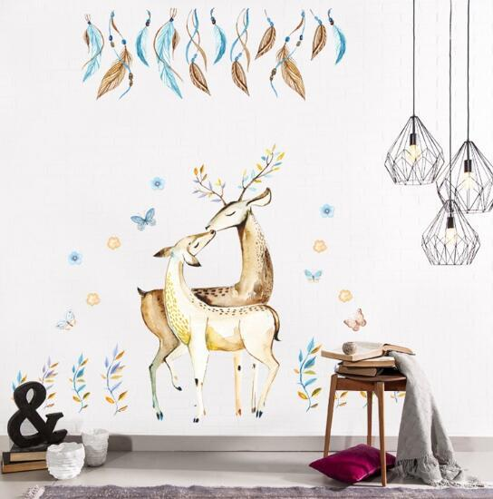 New Elk bedroom living room wall sticker wholesale waterproof removable stickers creative fashion home cartoon cute