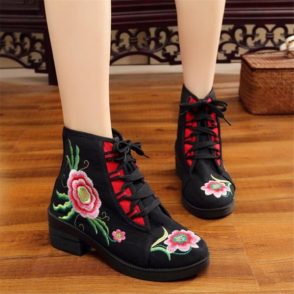 Cotton embroidered women's casual canvas short-sole thick boots national wind ladies autumn shoes lace Zapato Mujer EZ487