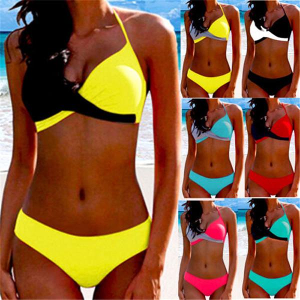 swimwear for women bikinis for women bikini 2019 halter neck splice woman swimsuit female patchwork swimwear women bathing suit set