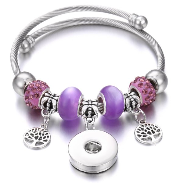 2019 New Snap Jewelry 18mm Snap Button Bracelet Handmade Beaded Snap Cuff Bracelets Bangles DIY Owl Charm Bracelet