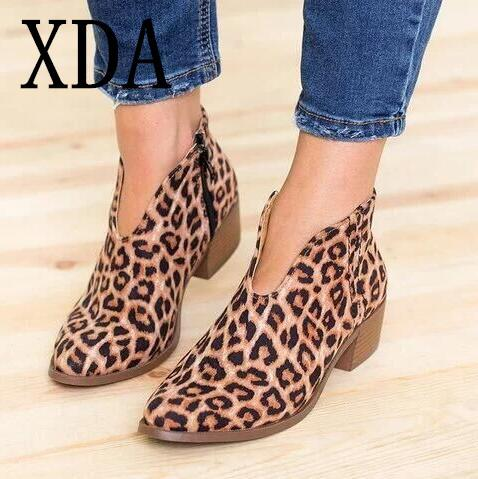 XDA Women Shoes 2019 fashion Leopard Print Sexy Pointed Toe Ankle Boots Slip on Deep V High Heel  boots Lady Party Shoes