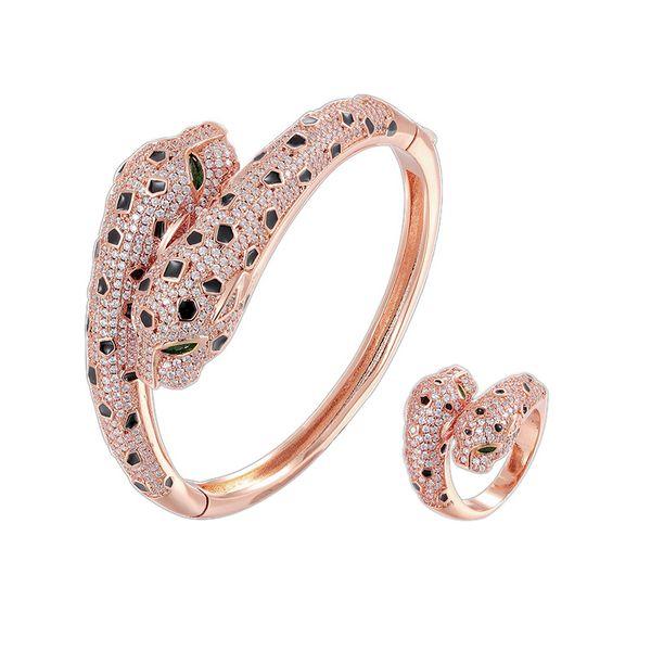 Ouro rosa / 1 conjuntos (pulseira + anel)