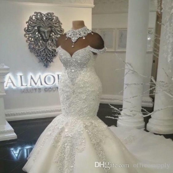 Custom Made Luxo Dubai Árabe Da Sereia Vestidos De Noiva Plus Size Beading Cristais Tribunal Train Wedding Dress Vestidos de Noiva