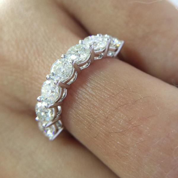 2.1ctw 4mm Df Corte Redondo Engagementwedding Moissanite Lab Grown Diamante Banda Anel Sólido Genuíno 14k 585 Ouro Branco Para As Mulheres J 190511