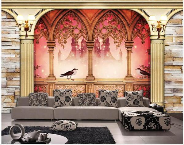 European 3D Roman Column Fantasy Night Scene Living Room TV Background Wall
