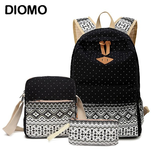 Diomo Canvas School Bags Set For Girls Female Backpack Schoolbags High Quality Backpack Feminine Book Bag J190427
