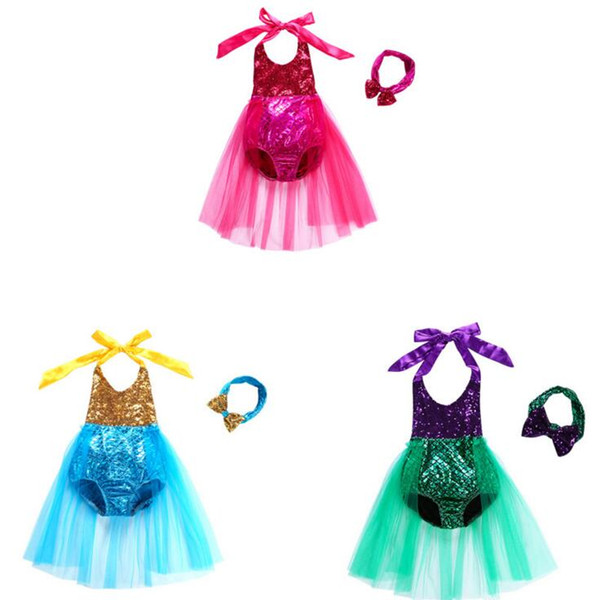 Mermaid Kids Swimwear Sequin Girls One-Pieces Bikini Baby Lace Tutu Bathing Suits Fish Scale Dress Headband Suits Beachwear Swimsuit CLS171