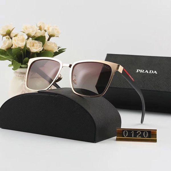 Lunettes de soleil design Lunettes de soleil de luxe Designer en verre pour hommes Femmes Lunettes UV400 Marque P0120 6 couleurs de haute qualité avec boîte